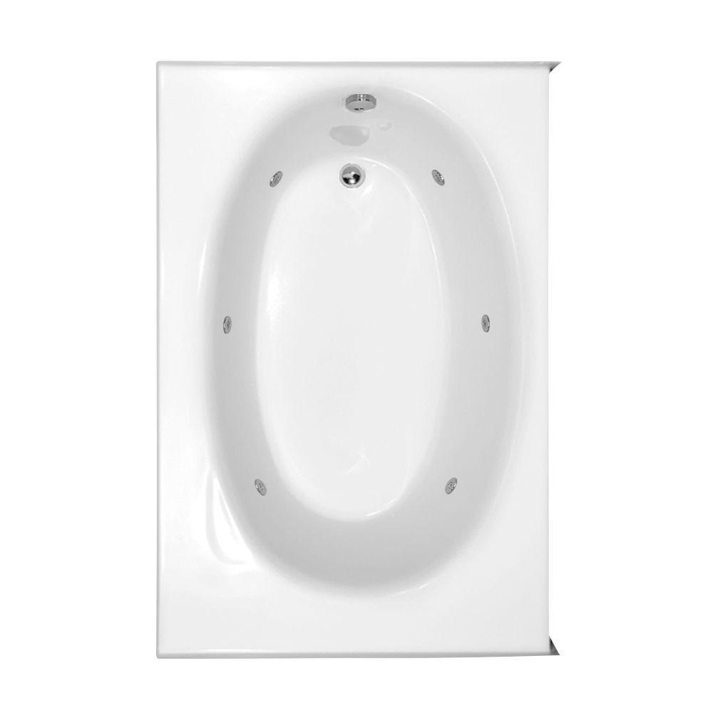 Kona 5 ft. Right Drain Whirlpool Tub in White