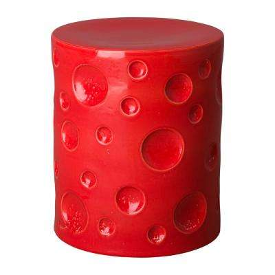 Crater Coral Red Ceramic Garden Stool