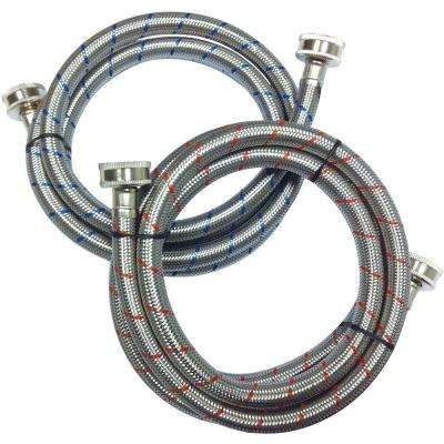 3/4 in. x 3/4 in. x 60 in. Stainless Steel Washing Machine Hose (2-Pack)