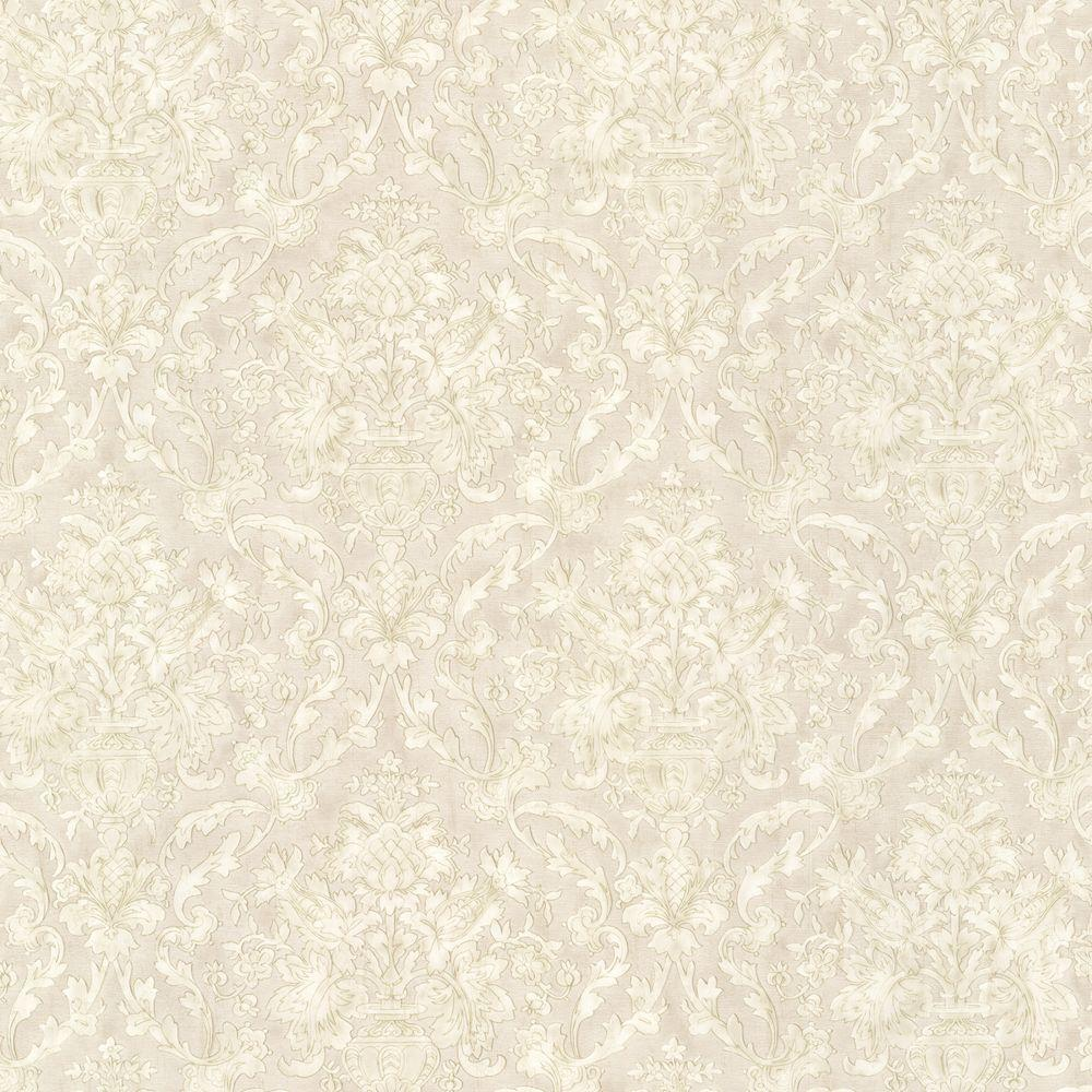 Mirage Majestic Taupe Scrolling Damask Wallpaper