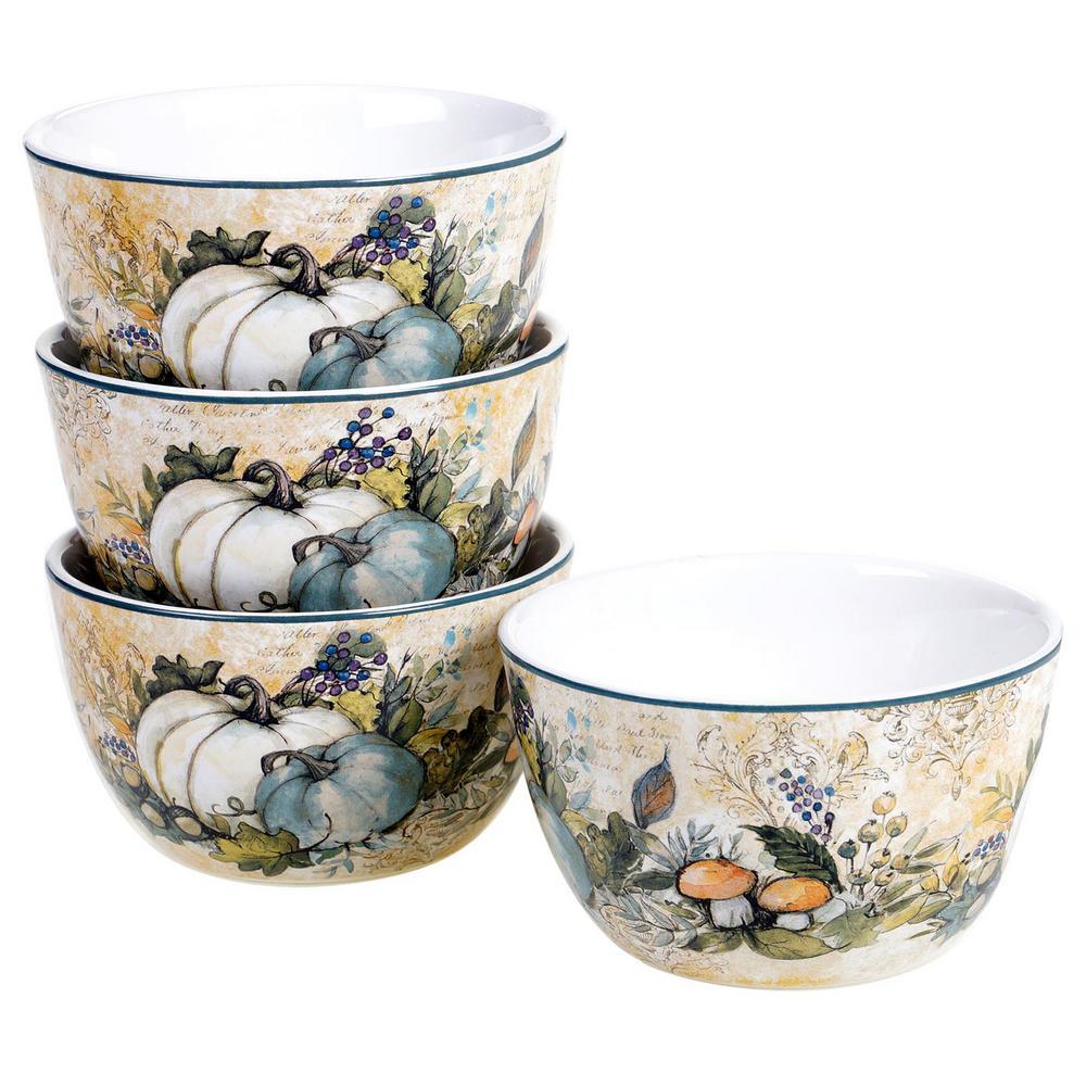 Harvest Gatherings 22 oz. Multicolored Earthenware Ice Cream Bowl (Set of 4)