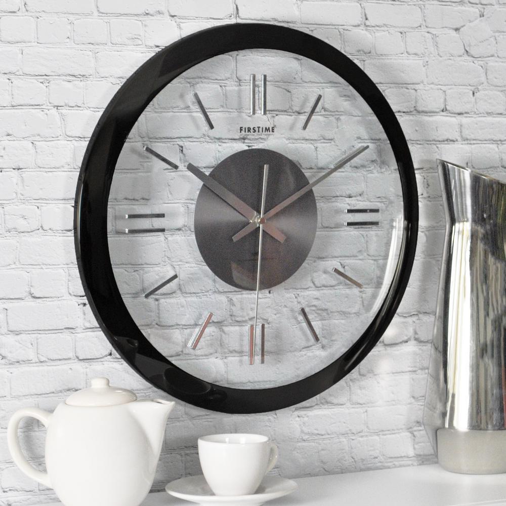 14 in. H Modish Gunmetal Wall Clock