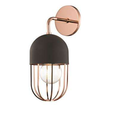Haley 1-Light Polished Copper Wall Sconce with Black Accents