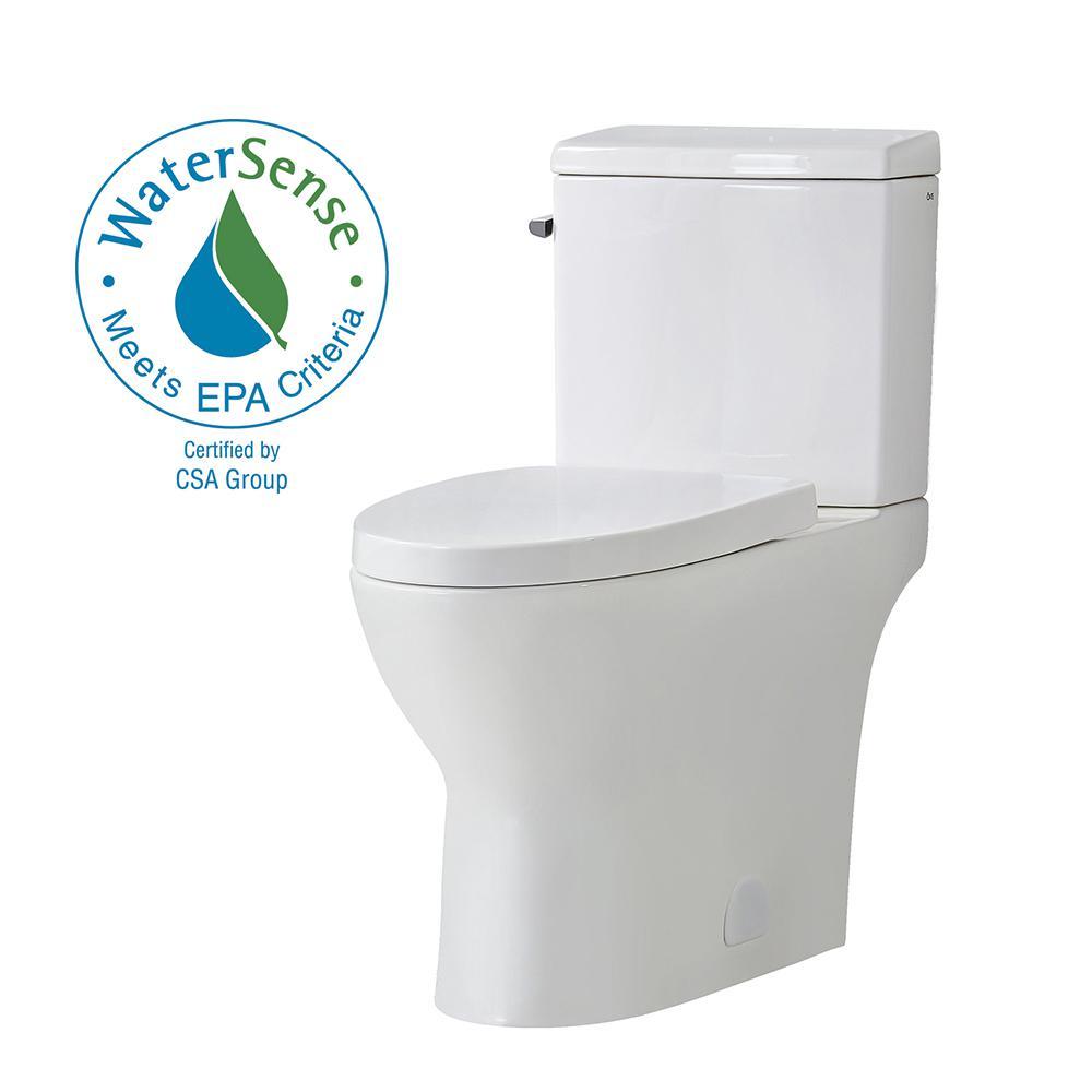 Caspian 12 in. Rough-In 2-Piece 1.1/1.6 GPF Dual Flush Elongated Toilet