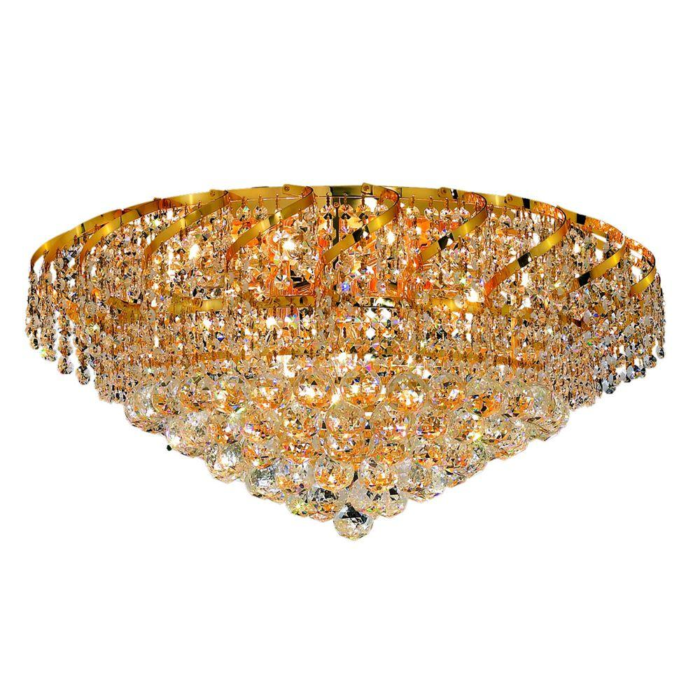 18-Light Gold Flushmount with Clear Crystal