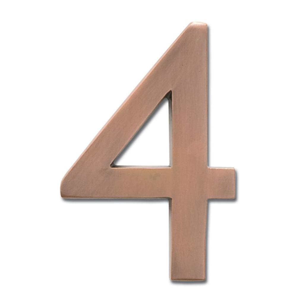 Architectural Mailboxes 5 in. Antique Copper Floating House Number 4