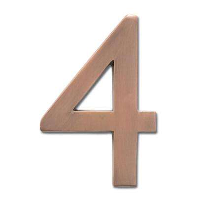 5 in. Antique Copper Floating House Number 4