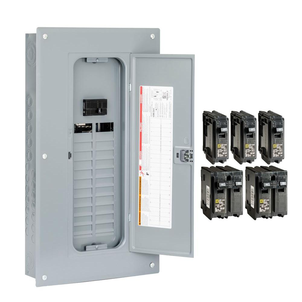 Square D Homeline 100 Amp 24-Space 48-Circuit Indoor Main Breaker ...