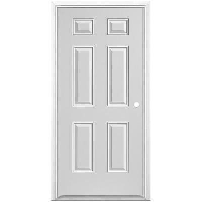 32 in. x 80 in. Utility 6-Panel Left Hand Inswing Primed Steel Prehung Front Exterior Door with Brickmold