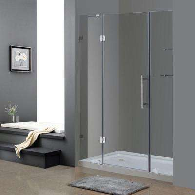 Soleil 60 in. x 77-1/2 in. Completely Frameless Hinge Shower Door in Chrome with Glass Shelves and Left Drain Base