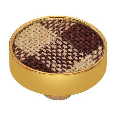 Basketweave 1-3/5 in. Checkered Red and Brown Cabinet Knob