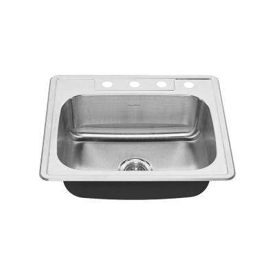 Colony Pro Drop-in Stainless Steel 25 in. 4-Hole Single Bowl Kitchen Sink Kit