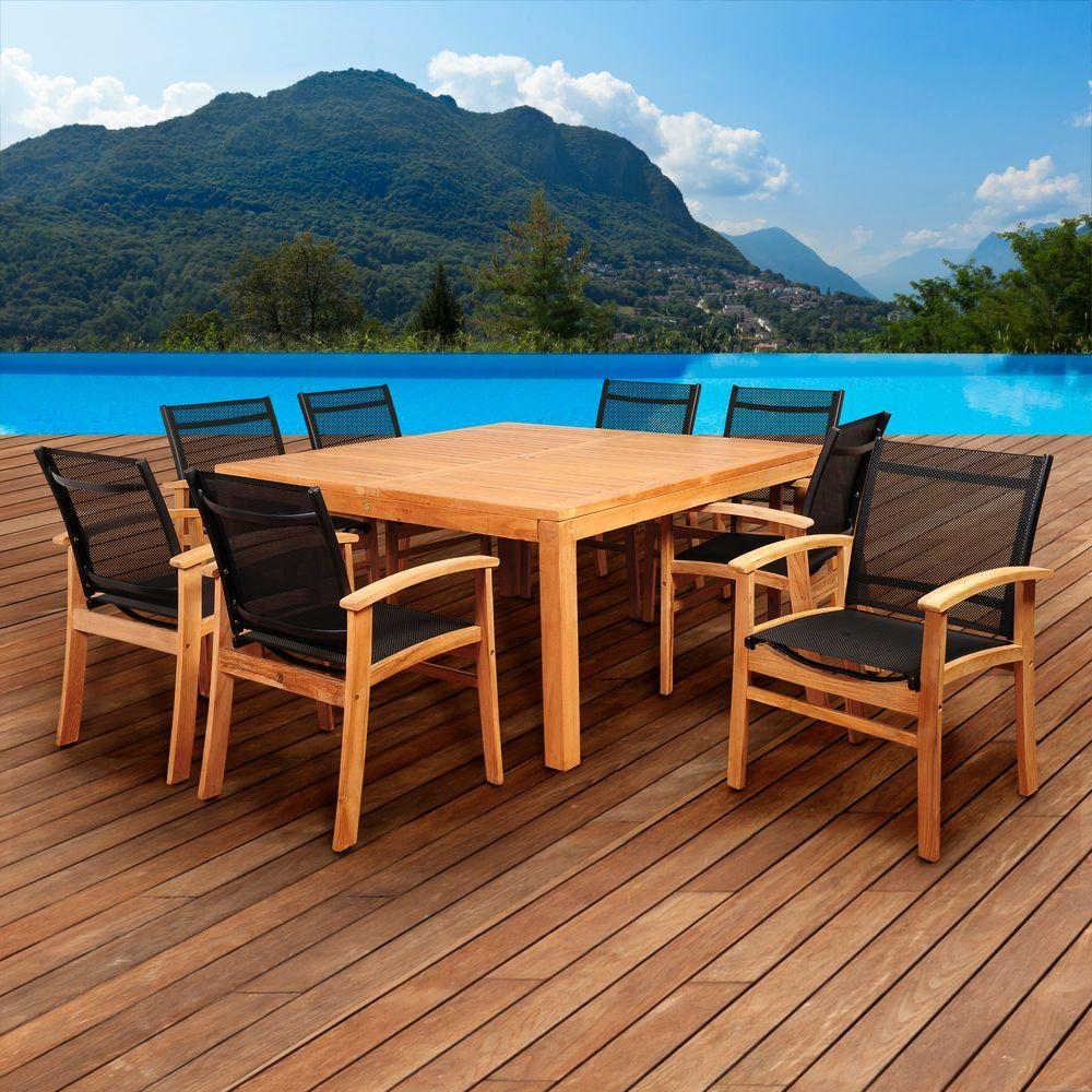 Amazonia Elliot 9 Piece Teak Square Patio Dining Set With Black Sling Chairs