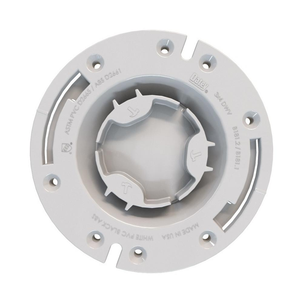 "Oatey Fast Set 3""x4"" PVC, Hub Toilet Flange with Test Cap and Plastic Ring"