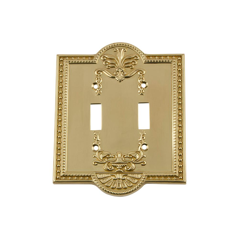 Meadows Switch Plate with Double Toggle in Polished Brass