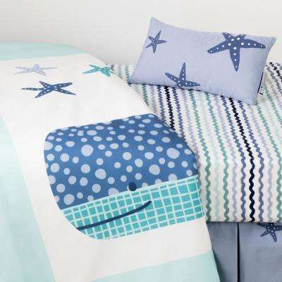 DreamIt 3-Piece Blue Little Whale Baby Crib Bed Set and Pillow