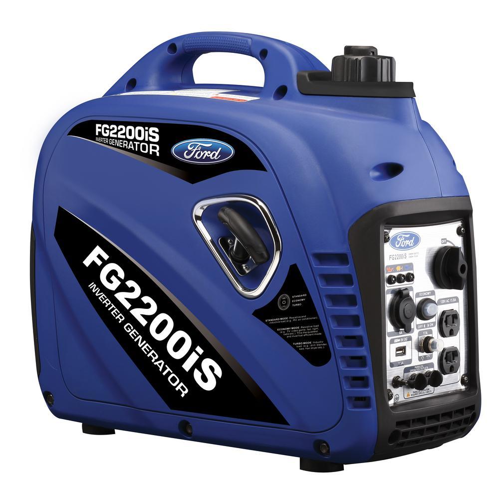 Ford 2,200/2,000-Watt Gasoline Powered Recoil Start Portable Inverter Generator with 80 cc Ducar Engine