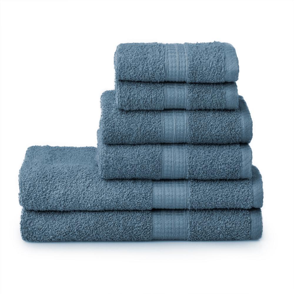 6-Piece 100% Cotton Towel Set in Blue