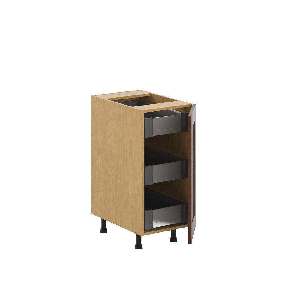 Fabritec Ready to Assemble 15x34.5x24.5 in. Lyon 3-Interior Drawer Base Cabinet in Maple Melamine and Door in Medium Brown