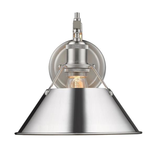 Orwell PW 1-Light Wall Sconce in Pewter with Chrome Shade