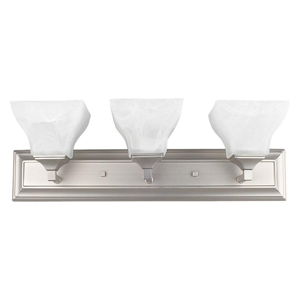 3-Light Bright Satin Nickel Indoor Vanity Light