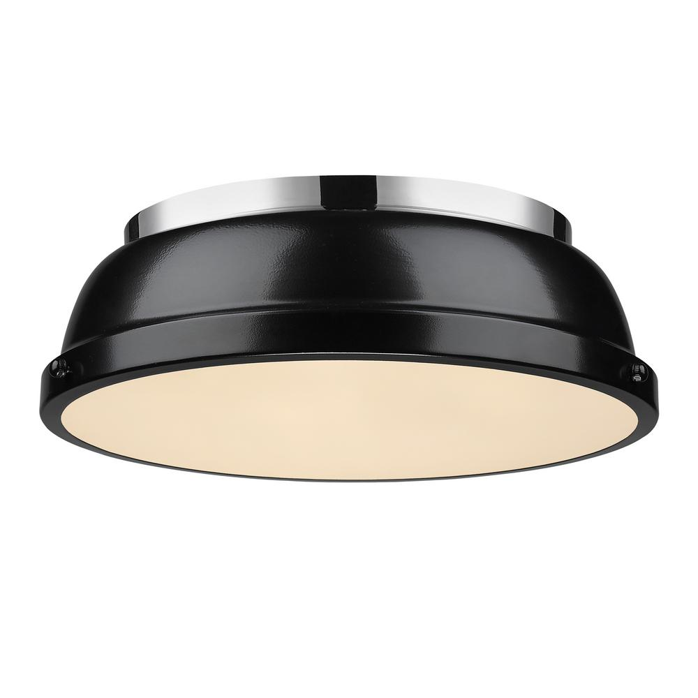Duncan 2-Light Chrome Flushmount with Black Shade