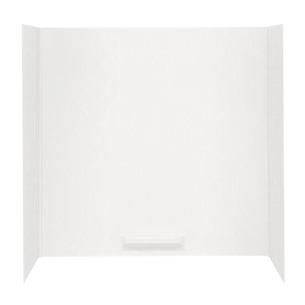 Swan 48 in. x 72 in. x 58 in. 5-Piece Easy Up Adhesive Tub Wall in White
