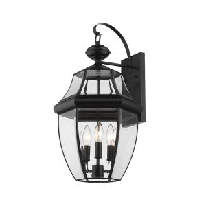 Filament Design 3 Light Black Outdoor Wall Sconce With Clear Beveled Glass Shade Hd Te50490 The Home Depot