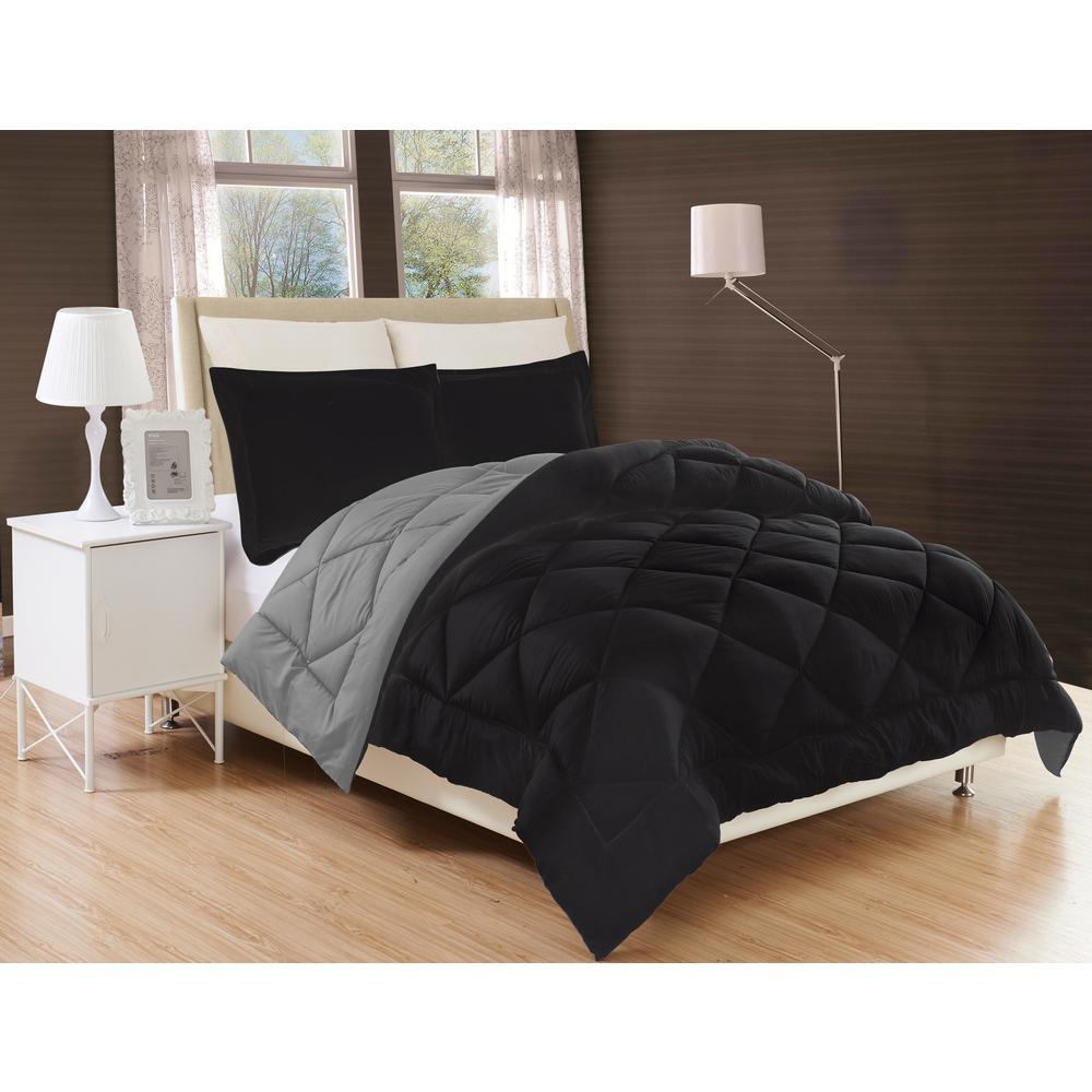 Down Alternative Black and Gray Reversible Full/Queen Comforter Set