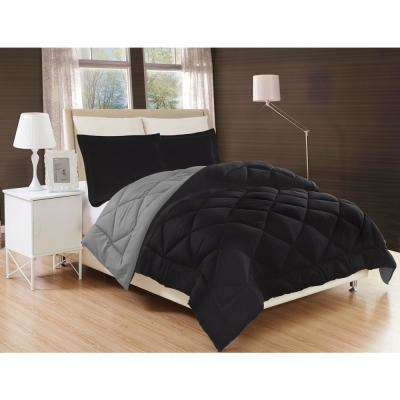 Down Alternative Black and Gray Reversible King Comforter Set