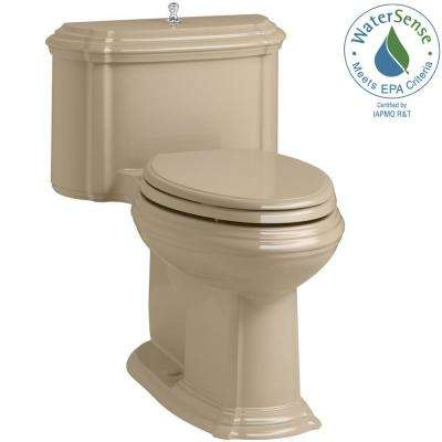 Portrait 1-piece 1.28 GPF Single Flush Elongated Toilet with AquaPiston Flush Technology in Mexican Sand, Seat Included