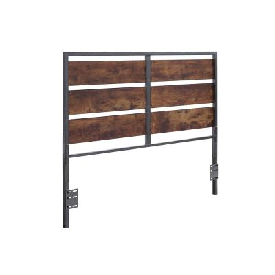 Brown Queen Size Metal and Wood Plank Panel Headboard