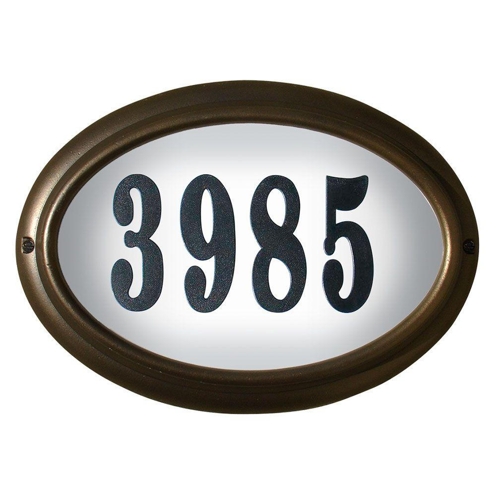 Lighted Address Sign Part - 50: QualArc Edgewood Oval Aluminum Lighted Address Plaque