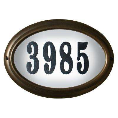 Edgewood Oval Aluminum Lighted Address Plaque