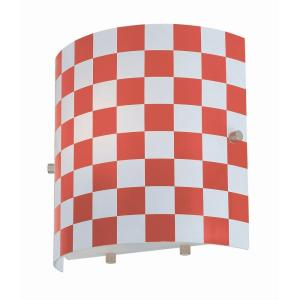 Illumine 1-Light Red Wall Lamp with Check Glass by Illumine