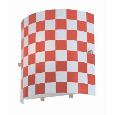 1-Light Red Wall Lamp with Check Glass
