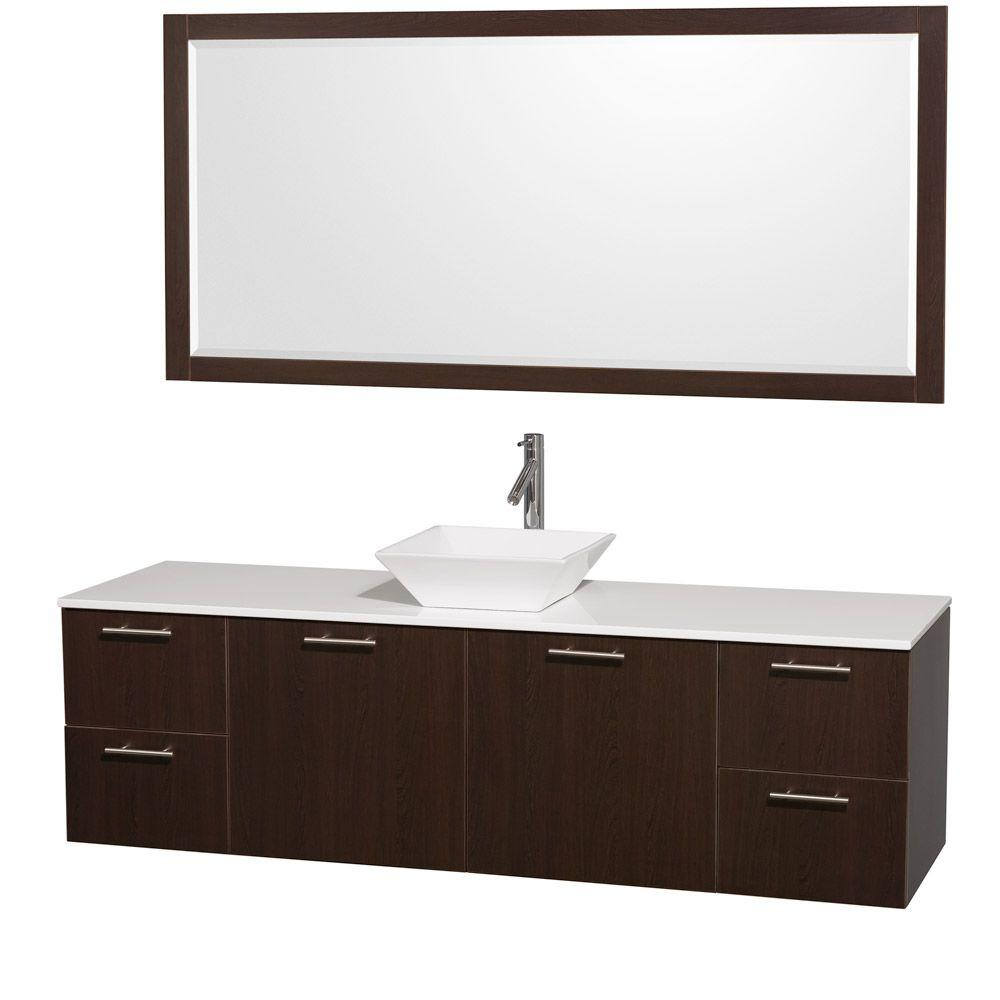 Wyndham Collection Amare 72 in. Vanity in Espresso with Man-Made Stone Vanity Top in White and Porcelain Sink
