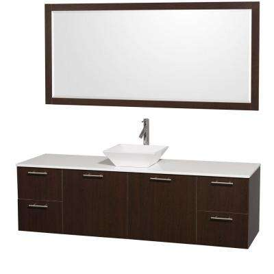 Amare 72 in. Vanity in Espresso with Man-Made Stone Vanity Top in White and Porcelain Sink