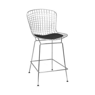 Mid Century Modern Chrome Wire Counter Stool with 24 in. Seat Height (Black)