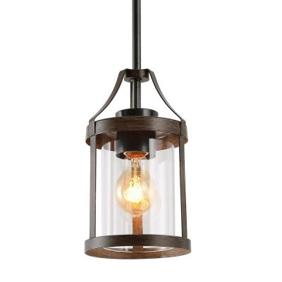 Corta 1-Light Black Iron Pendant Lighting with Painted Walnut Accents Clear Glass