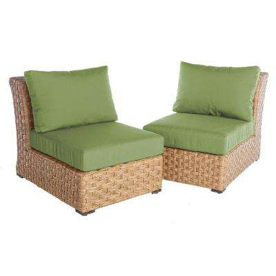Elizabeth 2-Piece Wicker Patio Seating Set with Spectrum-Cilantro Cushions