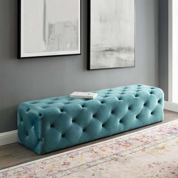 Anthem Sea Blue 72 in. Tufted Button Entryway Performance Velvet Bench