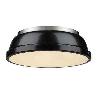 Duncan 2-Light Pewter Flush Mount with Black Shade