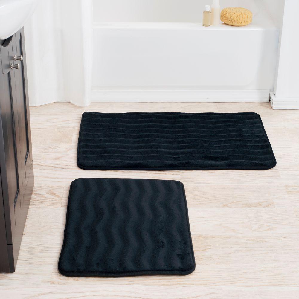Black 20.25 in. x 32.25 in. Memory Foam 2-Piece Bath Mat Set