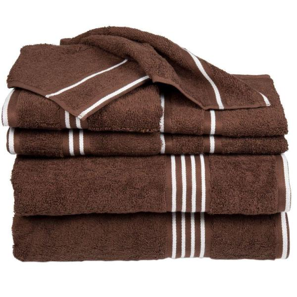 Lavish Home Rio 8-Piece Brown Solid Cotton Bath Towel Set
