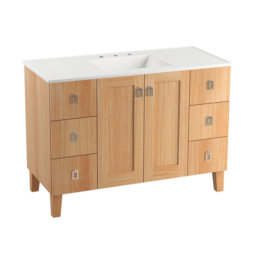 Poplin 48 in. W Vanity in Khaki White Oak with Home Decorators Marble Vanity Top in Carrara with White Basin