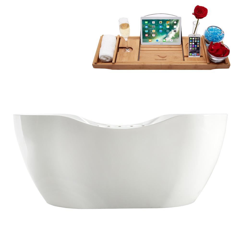 66.9 in. Acrylic Flatbottom Non-Whirlpool Bathtub in Glossy White