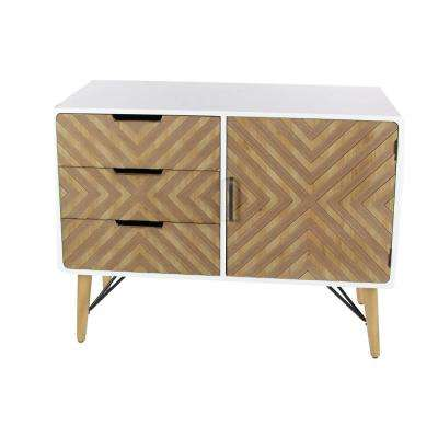 39 In. X 30 In. 3 Drawer Chevron Patterned Wood And Metal
