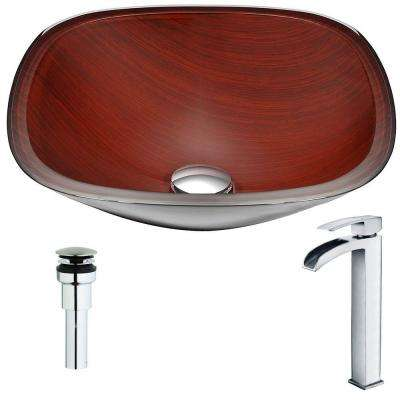 Cansa Series Deco-Glass Vessel Sink in Rich Timber with Key Faucet in Polished Chrome