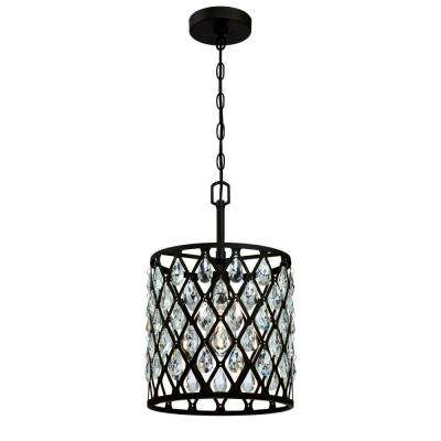 Waltz 1-Light Matte Black mesh with Crystals Pendant